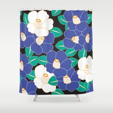 Japanese Style Camellia - Blue and Black Shower Curtain