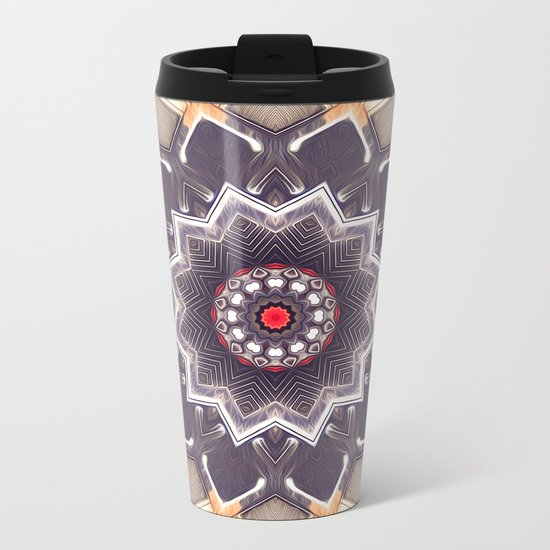Abstract Gray Mandala Metal Travel Mug