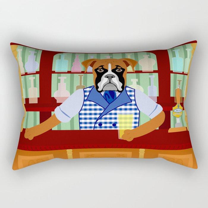 Boxer Dog Beer Pub Rectangular Pillow