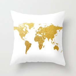 World Map Gold Foil Throw Pillow