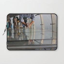 Not Afraid of the Glass Floor in Oriental Pearl Tower Laptop Sleeve