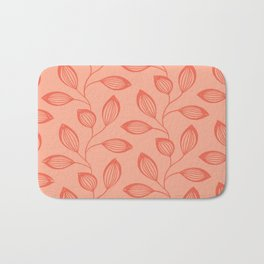 Climbing Leaves In Two Tone Living Coral Bath Mat