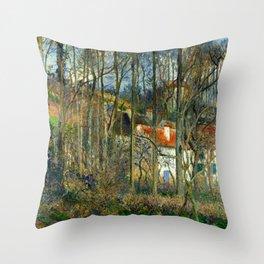 "Camille Pissarro ""The Côte des Bœufs at L'Hermitage"" Throw Pillow"