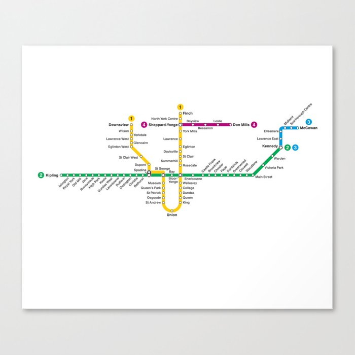 Toronto Subway Map Print.Ttc Subway Map Canvas Print By Bzmw