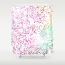 Hand painted magenta pink teal green watercolor floral Shower Curtain
