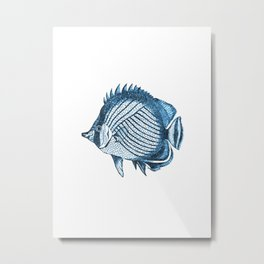 Fish coastal ocean blue watercolor Metal Print