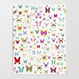 Numerous colorful butterflies on a neutral background Poster