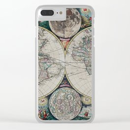 Atlas Maritimus - Vintage World Map Clear iPhone Case