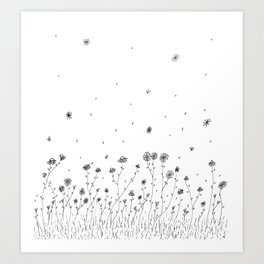 Daisy Flowers Black and White Art Print