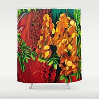 "cassia beck Shower Curtains featuring ""Cassia"", Fine Art Print, Oil painting, flowers painting, yellow, floral wall decor, flowers art by Adriana Calcines"