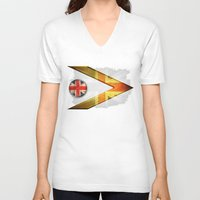 british flag V-neck T-shirts featuring British by ilustrarte