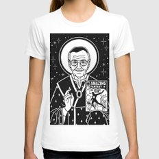 Stan Jesus Lee White Womens Fitted Tee X-LARGE