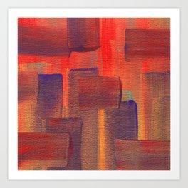 Abstract City Sunset Art Print
