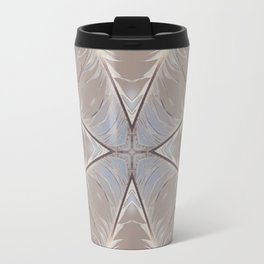 Web of Life - feather mandala art, symmetrical spiritual yoga, high vibe energy, air element Travel Mug