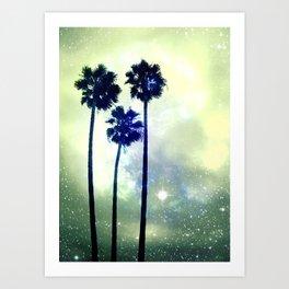 Celestial Palm Trees Art Print