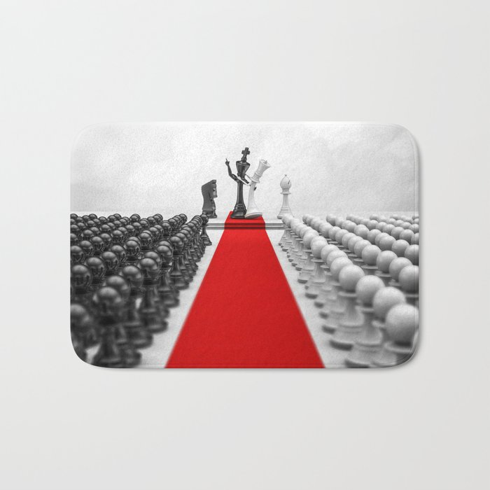 Wedding Chess / 3D render of checkmating ceremony Bath Mat