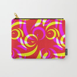 Pattern of yellow and purple doodles and curls in floral ornament in ethnic style on a red backgroun Carry-All Pouch