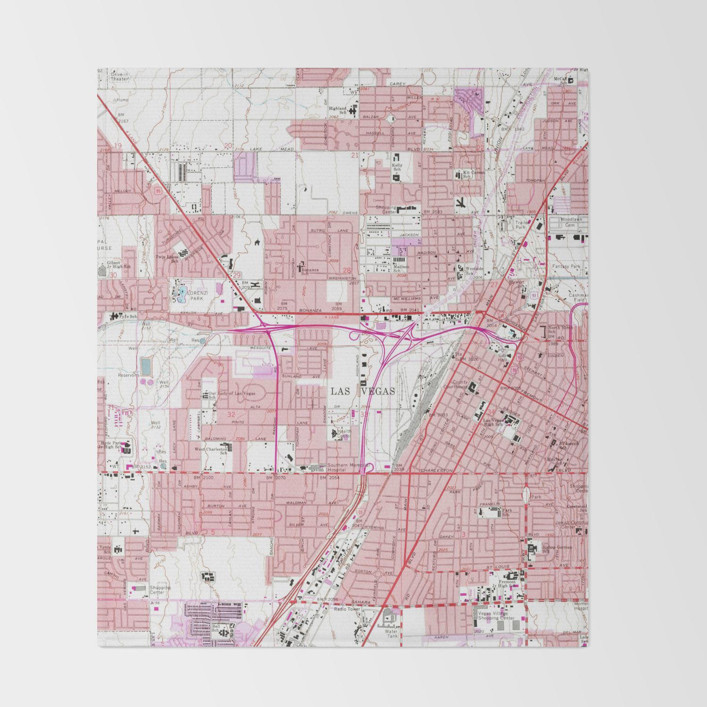 Vintage Map of Las Vegas Nevada (1967) 3 Throw Blanket by ...