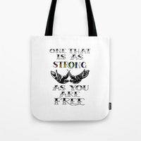 larry stylinson Tote Bags featuring One that's strong as you are free (Larry Stylinson) by Arabella