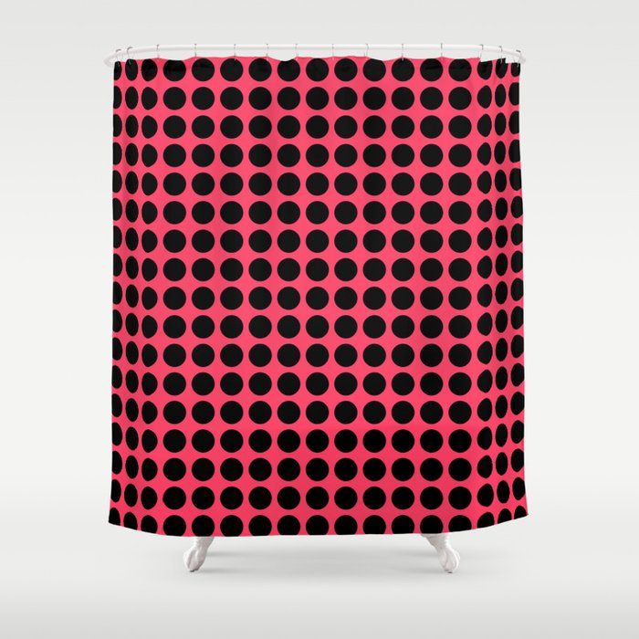 Black Polka Dots On A Salmon Color Background Shower Curtain