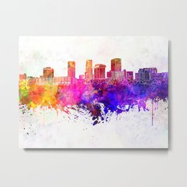 Akron skyline in watercolor background Metal Print
