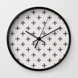 Geometric Cross Modern Charcoal Vintage Grunge Pattern Wall Clock