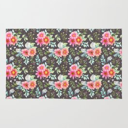 Elegant botanical blush pink teal green watercolor floral Rug