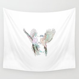 wedding birds 3. birds of paradiese, birds in love tropical bird home decor Wall Tapestry