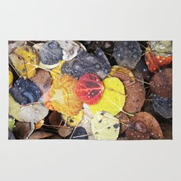 Multicolored Aspen Leaves in Woods Rug