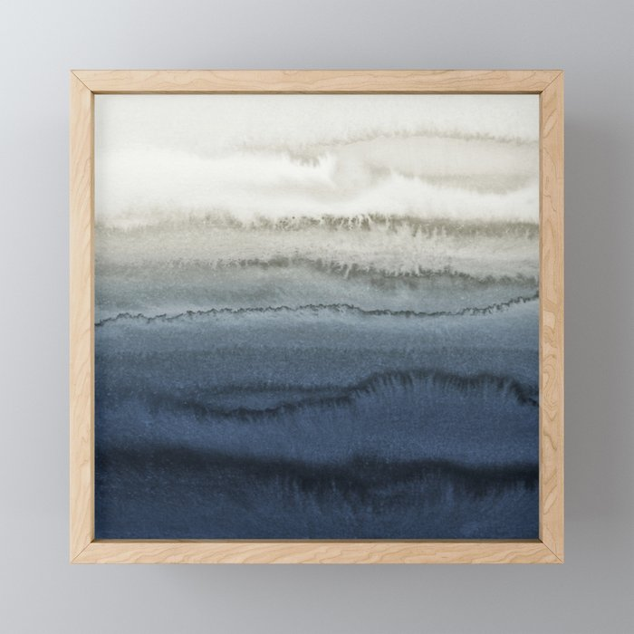 WITHIN THE TIDES - CRUSHING WAVES BLUE Framed Mini Art Print