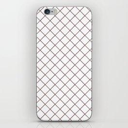 Pantone Red Pear Thin Line Stripe Grid (Pinstripe Pattern) on White iPhone Skin