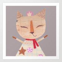 Collage Cat Colour Art Print