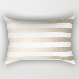 Simply Striped in White Gold Sands Rectangular Pillow