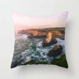 Golden California Coastline - Santa Cruz, California Throw Pillow