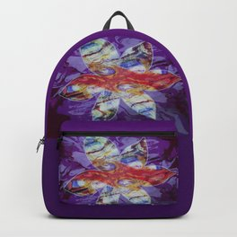 Bright Abstract Flower; Purple, Lavender and Maroon Background; Fluid Abstract 55 Backpack
