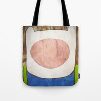 finn Tote Bags featuring finn by MAKE ME SOME ART