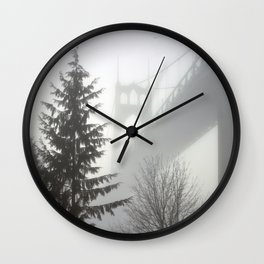 St. Johns Bridge in the fog Wall Clock