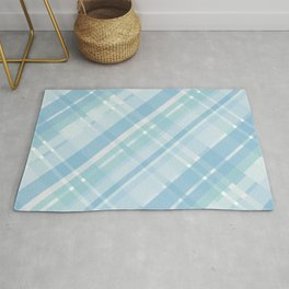 Cyan and blue crisscross lines, abstract checkered pattern Rug
