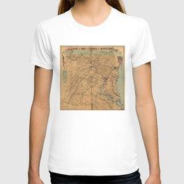 Vintage Maryland & Virginia Civil War Battles Map (1863) T-shirt