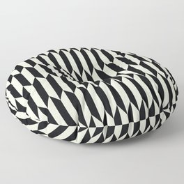 BW Oddities I - Black and White Mid Century Modern Geometric Abstract Floor Pillow