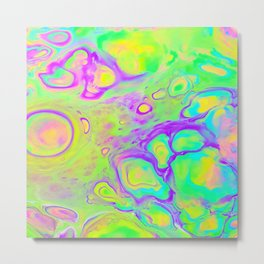 Neon Bubbles Metal Print