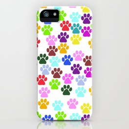 Dog Paws, Trails, Paw-prints - Red Blue Green iPhone Case