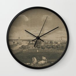 Vintage Cleveland Ohio Illustration (1833) Wall Clock