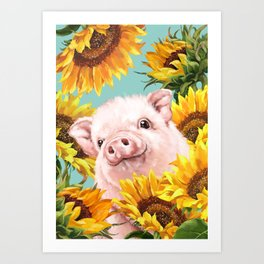 Baby Pig with Sunflowers in Blue Art Print