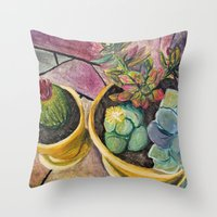 cacti Throw Pillows featuring Cacti by Emily Kenney