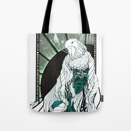 Silent woman with bird in sunset Tote Bag