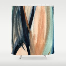 Waves - a pretty minimal watercolor abstract in blues, pinks, and browns Shower Curtain