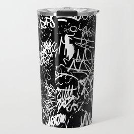 Black and White Graffiti Abstract Collage Print Pattern Travel Mug