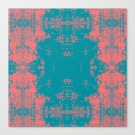 Living Coral Turquoise Shibori Tye Dye Canvas Print