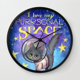 Purrsonal Space Wall Clock